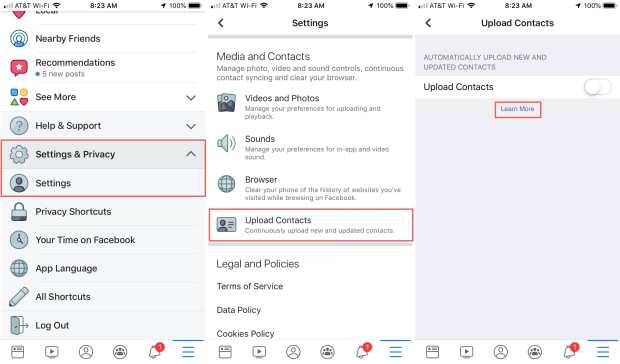 Facebook Settings Upload Contacts iPhone