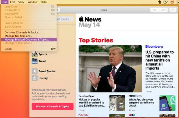 Manage Blocked Channels in Apple News on Mac