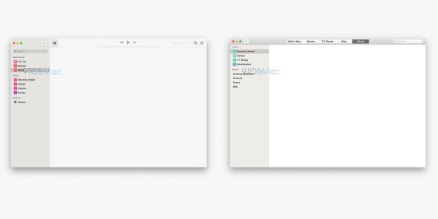 Leaked screenshots of standalone Music and TV macOS 10.15 apps