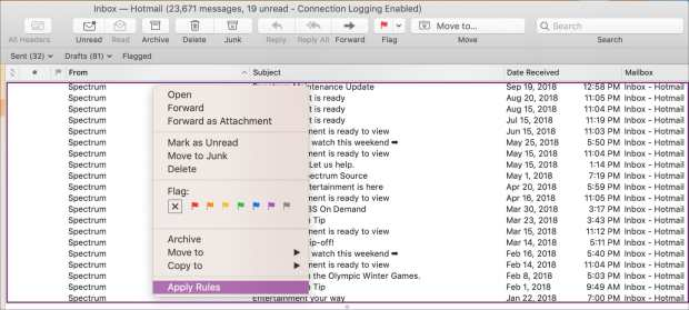 Unwanted Emails Apply Rules Shortcut in Mac Mail