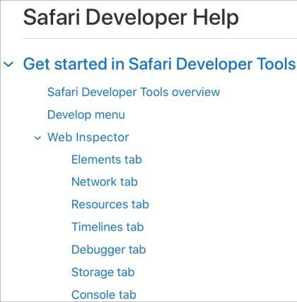 Safari Web Inspector Developer Site
