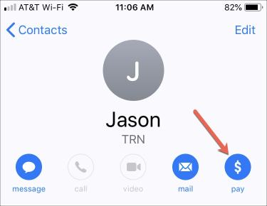 Apple Pay from Contacts App