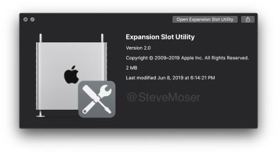 Expansion Slot Utility app for macOS Catalina