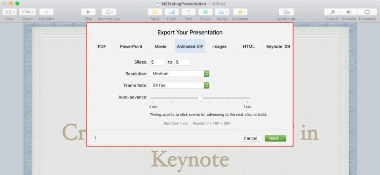 Cài đặt GIF hoạt hình trong Keynote Mac
