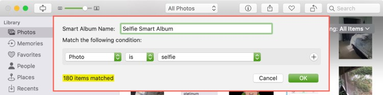 Tạo album thông minh trong ảnh Mac