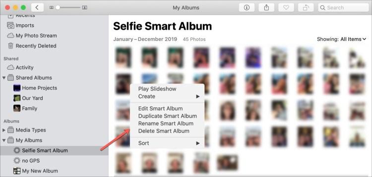 Chỉnh sửa album thông minh trong ảnh Mac