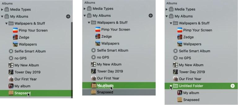 Create Folder with Albums Mac