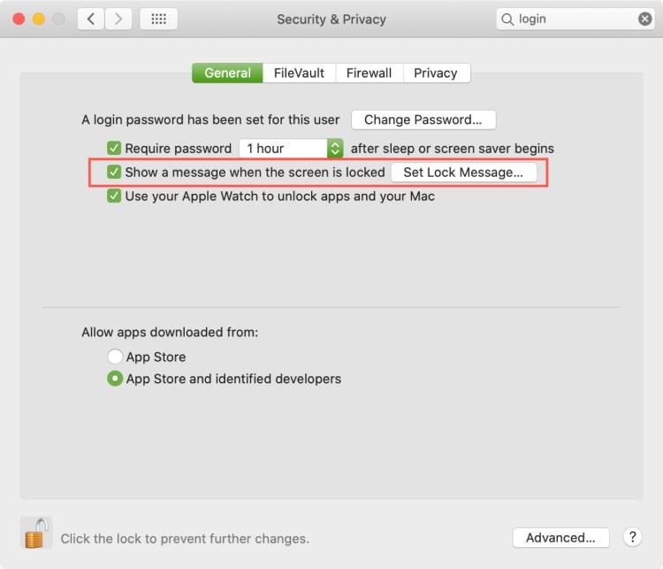 Màn hình đăng nhập Mac Hiển thị tin nhắn