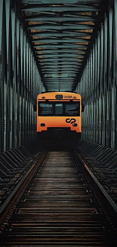 Orange streetcar wallpaper by João Bernardino