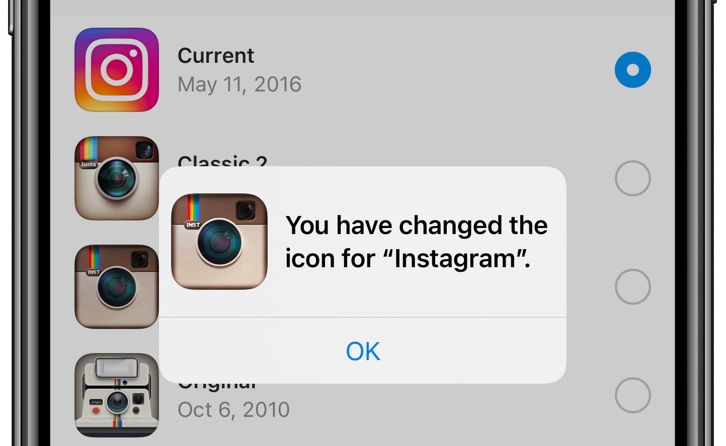 Thay đổi biểu tượng Instagram - thông báo xác nhận