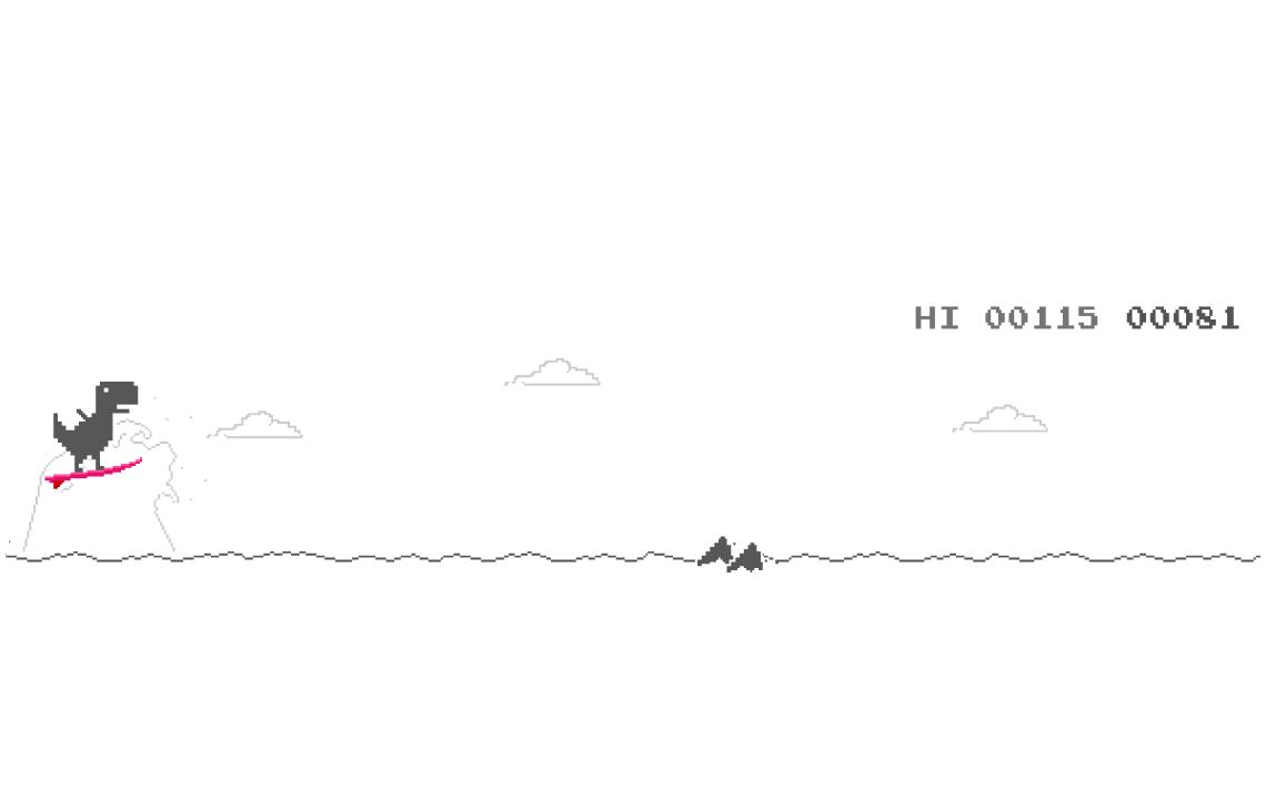 A Mac screenshot of Olympic mode in Google Chrome's hidden dinosaur jumping game