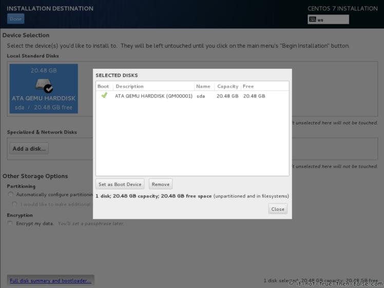 CentOS 7.5 Disk yang Dipilih