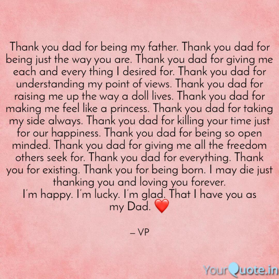 Thank You Dad Thank You Dad Poems From Daughter