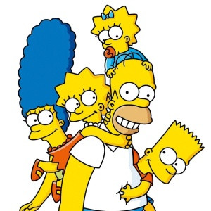 "Os personagens Lisa, Marge, Maggie, Bart e Homer Simpsons da série ""Os Simpsons"""