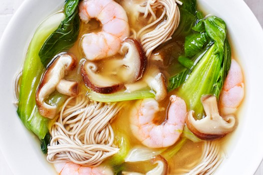 Prawn Noodle Soup With Miso and Mushrooms