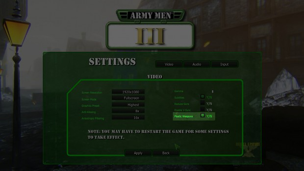Plastic Weapons Settings Feature