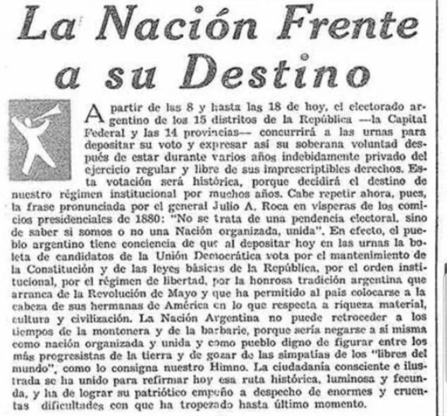 Detalle ampliado del editorial de portada de Clarín el domingo 24 de febrero, horas antes de producirse la elección que colocó a Perón por primera vez como Presidente argentino