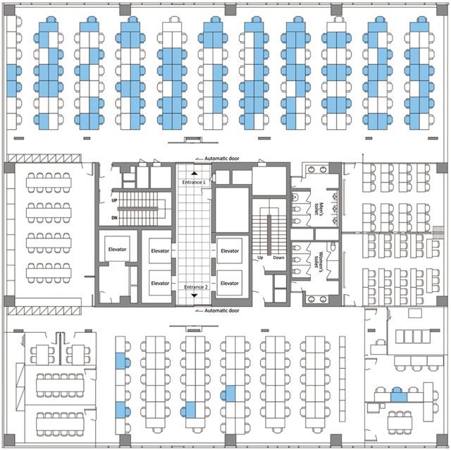 Pianta dell'undicesimo piano di un edificio, sede di un focolaio di covid-19 a Seoul, in Corea del Sud, 2020. In blu i posti a sedere dei casi confermati. - Cdc