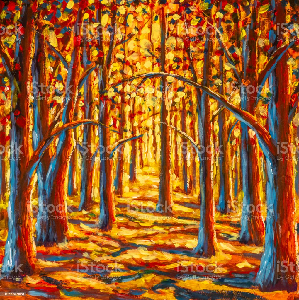 Survey data from the hubbard brook experimental forest to fit simple models of canopy phenology for three northern hardwood species, sugar maple (acer. Autumn Forest Paintings Monet Painting Claude Impressionism Paint Landscape Autumn Trees In Park Oil Stock Illustration Download Image Now Istock