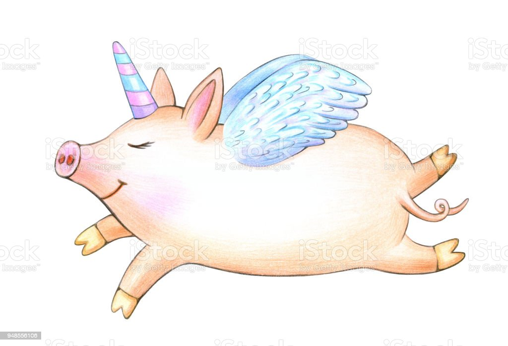 Cute Cartoon Pigs Wings