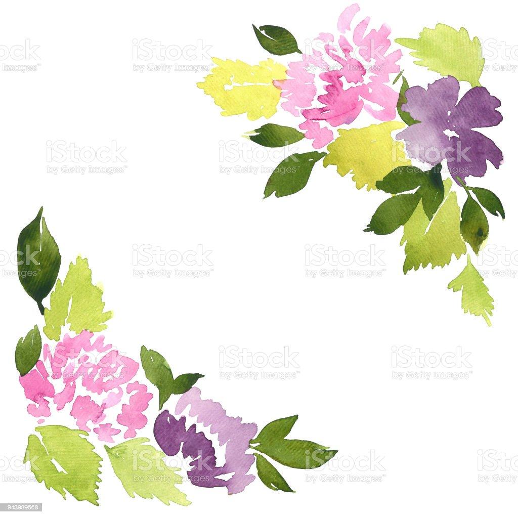 花水彩角佈置手繪鬆散的大麗花花 向量插圖及更多 具有特定質地 圖片 943989568   iStock