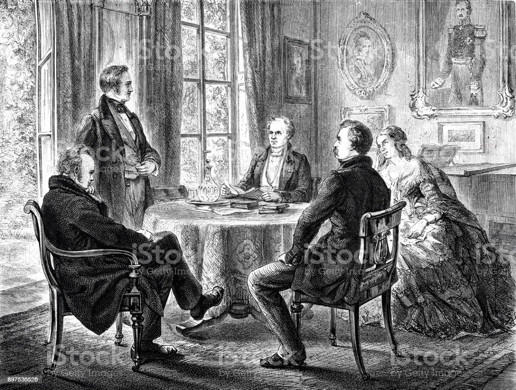 groupe de personnes assis autour dune table de lecture et de parler vecteurs libres de droits et plus d images vectorielles de 1889 istock