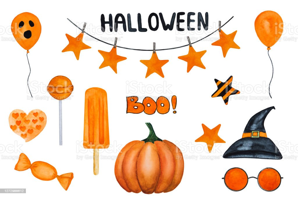 Find halloween decorating ideas, including pumpkins, haunted houses, and more. Halloween Decorations Beautiful Drawing With Watercolors Stock Illustration Download Image Now Istock