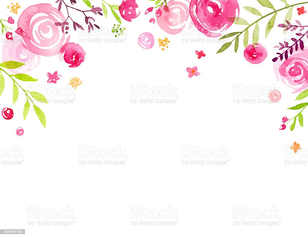 Hand Painted Watercolor Flower Canopy Frame Stock Vector