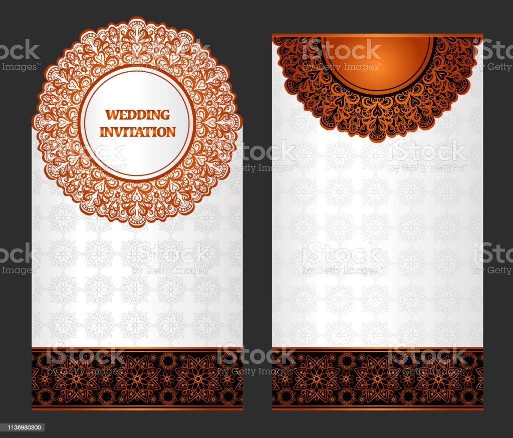 islamic orange wedding card background stock illustration download image now istock
