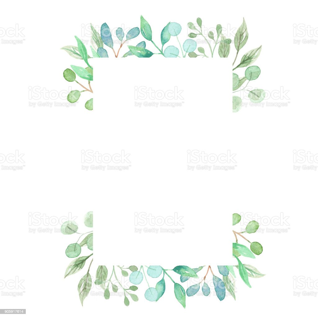 Leaves Watercolor Leaf Frames Pretty Greenery Foliage