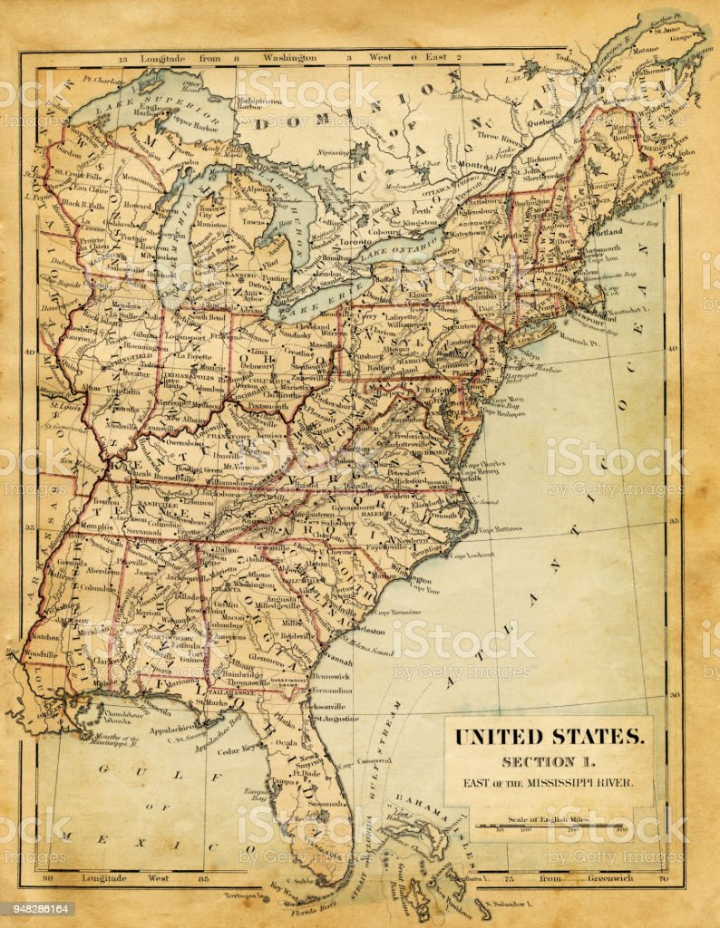 You may want to think again. Map Of Usa East Of Mississippi River 1876 Stock Illustration Download Image Now Istock