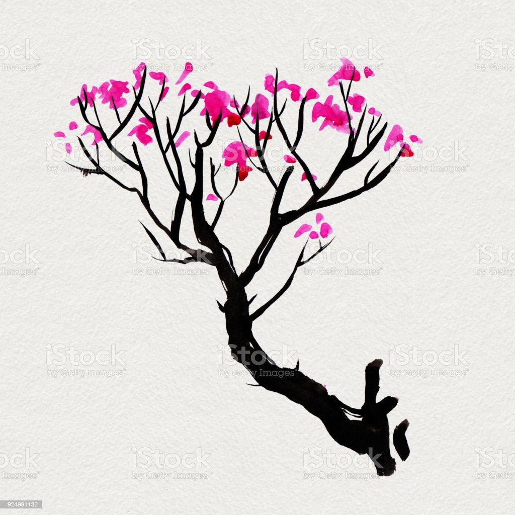 arbre de sakura dans le style japonais illustration de peinture aquarelle main vecteurs libres de droits et plus d images vectorielles de aquarelle istock