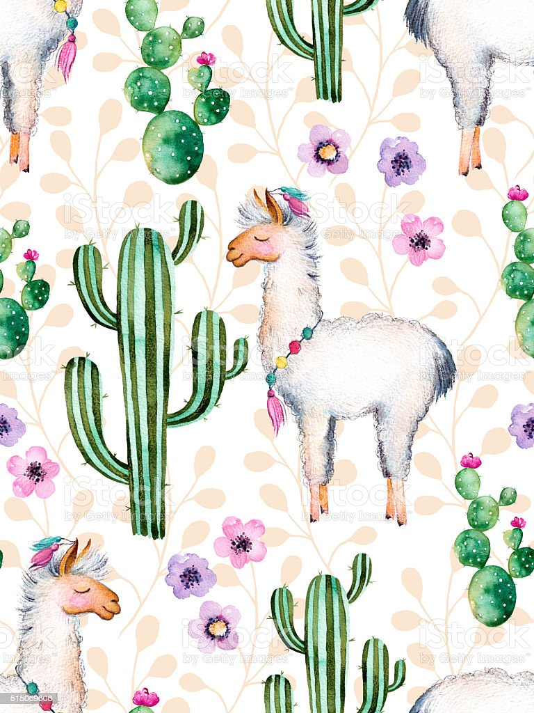 Texture With Watercolor Cactus Plantsflowers And Lama