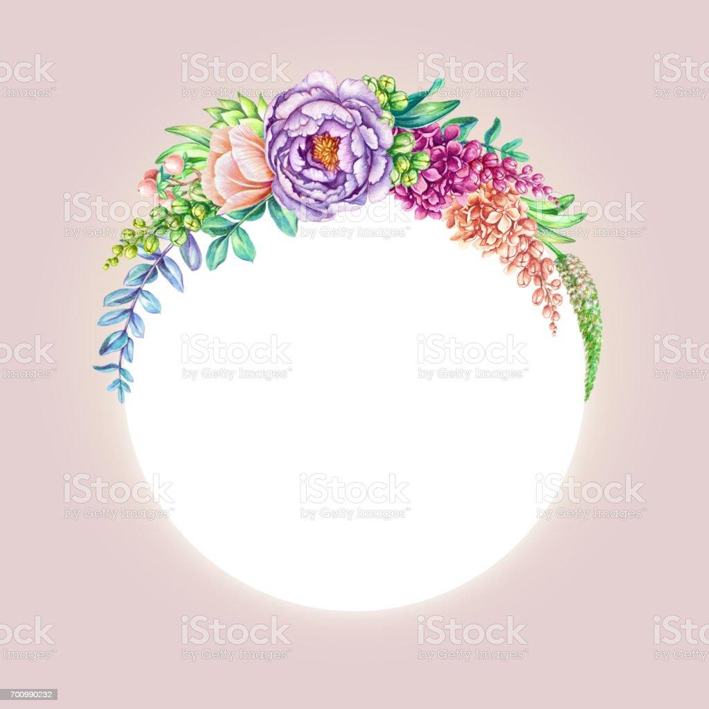 illustration aquarelle floral fond rose magnifiques fleurs sauvages ronde armature forme invitation modele de carte vierge vecteurs libres de droits et plus d images vectorielles de aquarelle istock