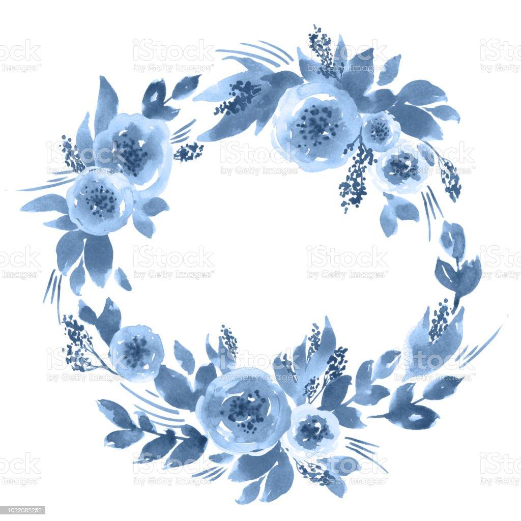 水彩鬆散的牡丹花環靛藍色手繪花框佈置 向量插圖及更多 事件 圖片 1022082252   iStock
