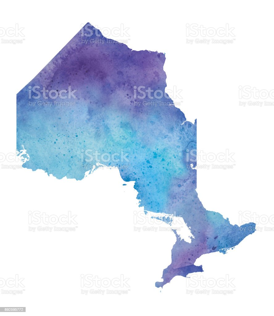 Watercolor Map Of Ontario In Blue And Purple Raster Illustration     Watercolor Map of Ontario in Blue and Purple   Raster Illustration  royalty free watercolor map
