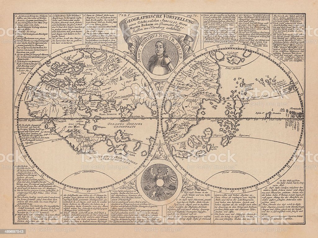 World Map By Martin Behaim 1492 Wood Engraving Published 1884 Stock Illustration Download Image Now Istock