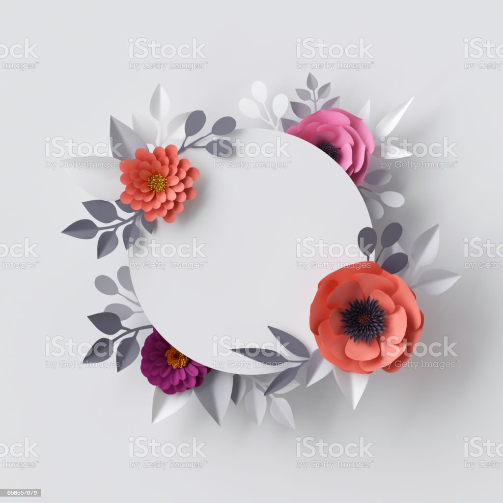3d Render Abstract Paper Flowers Floral Background Blank Round Frame Greeting Card Template