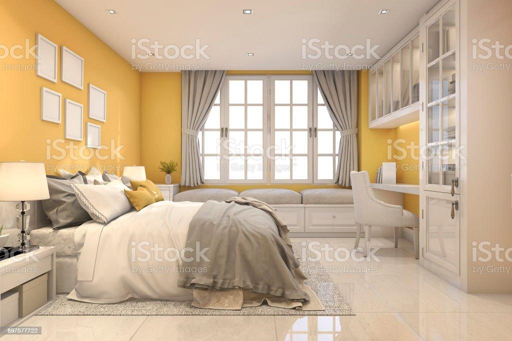 3d Rendering Beautiful Yellow Vintage Kid Bedroom Stock Photo Download Image Now Istock