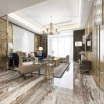 3d Rendering Luxury Classic Living Room With Marble Tile And Bookshelf Stock Photo Download Image Now Istock