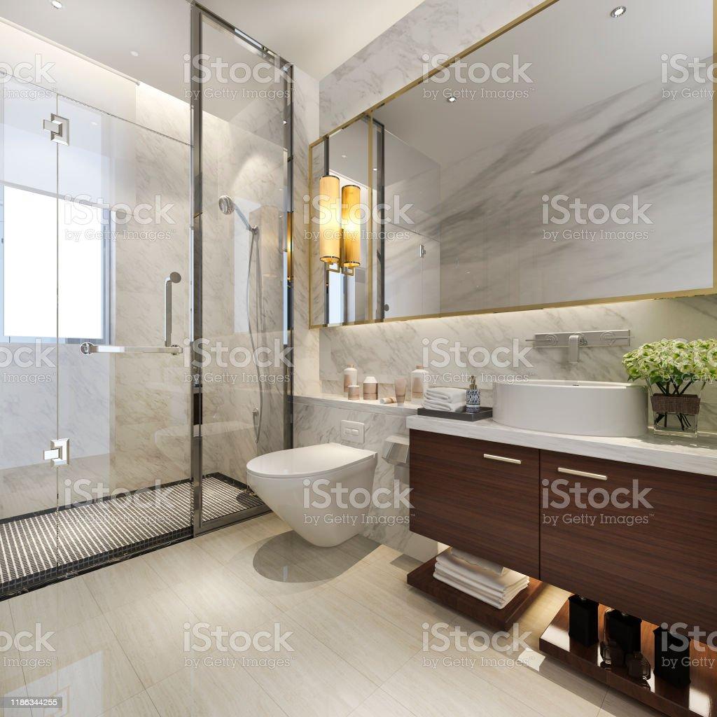 https www istockphoto com photo 3d rendering modern bathroom with luxury tile decor gm1186344255 334690513