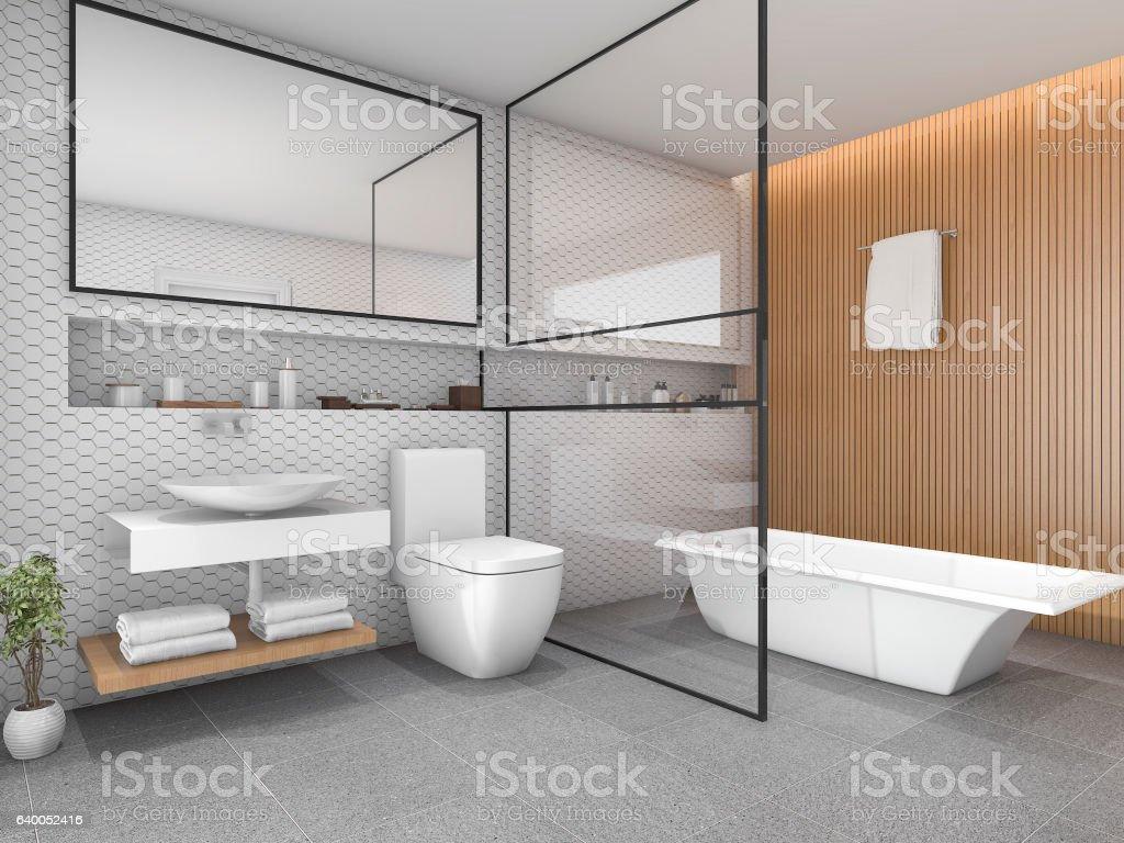 https www istockphoto com de foto 3d rendering white hexagon tile bathroom with wood decor gm640052416 115718203