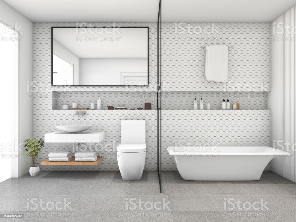https www istockphoto com de foto 3d rendering white hexagon tile modern bathroom gm640052402 115718189