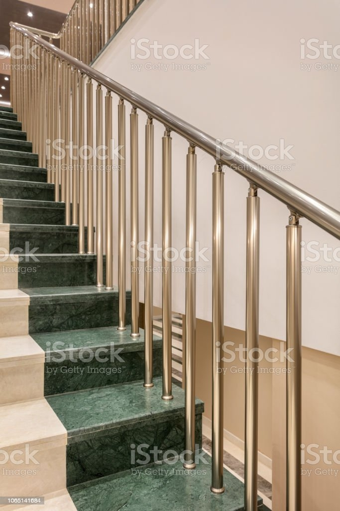 Aluminium Staircase Railing Stock Photo Download Image Now Istock | Two Tone Stair Railing | White | Indoor | Antique | Mansion | Country Style