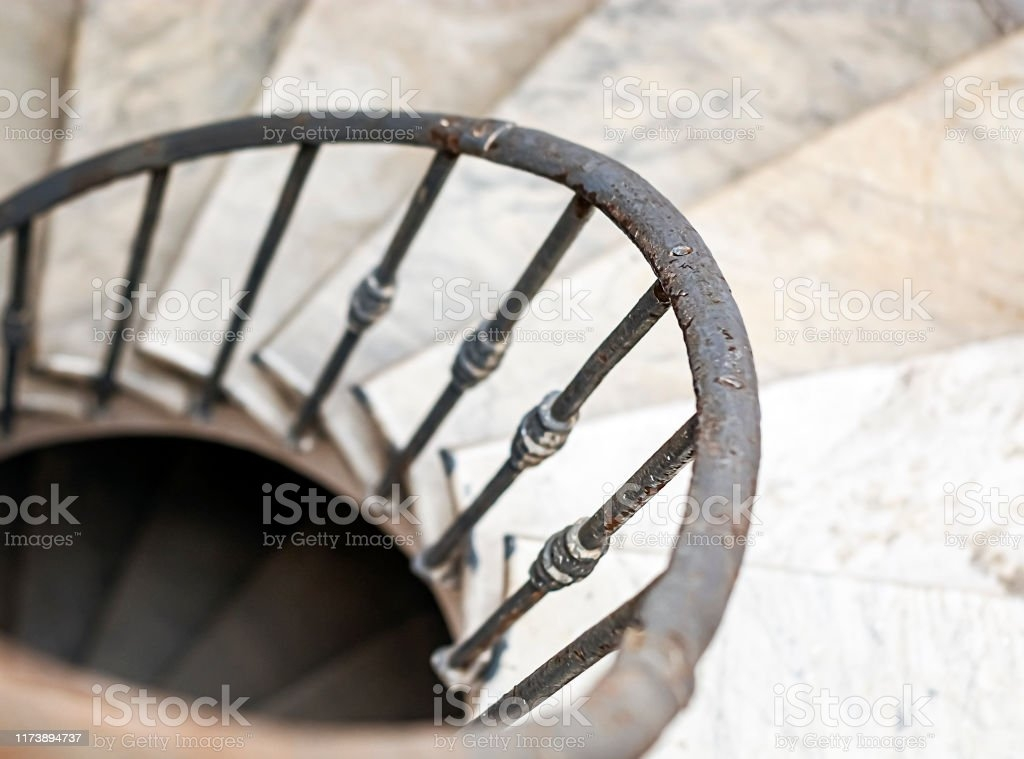Ancient Spiral Staircase With Marble Steps And Wrought Iron | Wrought Iron Handrail For Steps | Aluminum | Simple | Front Door Step | Forged Iron | Custom