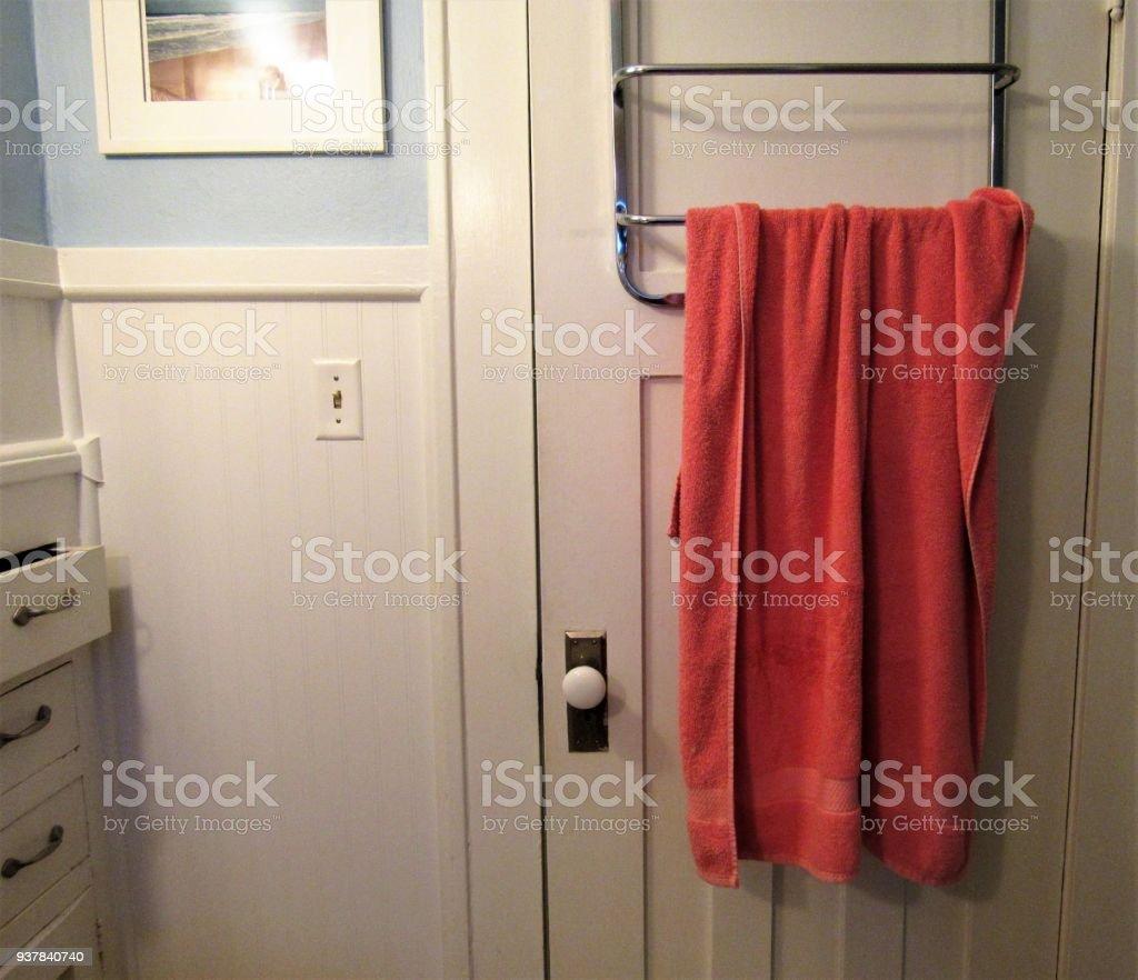 bathroom door with hanging towel stock photo download image now istock