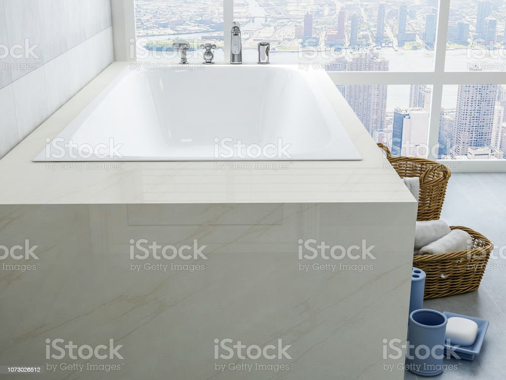 Bathtubs And Toiletries In Spacious Bathrooms In Modern Apartments Stock Photo Download Image Now Istock