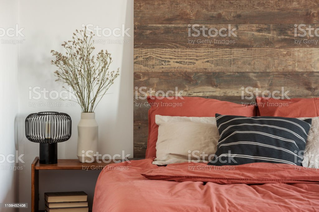 Beautiful Bedroom Interior With King Size Bed Wooden Headboard Stock Photo Download Image Now Istock