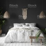 Bedroom Interior With Black Wallboho Style Decor And White Bed Stock Photo Download Image Now Istock