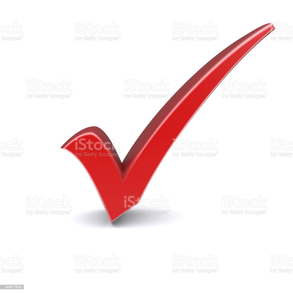 A Big Red Check Mark On A White Background Stock Photo ... on ✔  id=84926